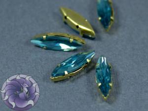 Кристалл Маркиз 15*4мм в золотой оправе, Цвет Синий циркон