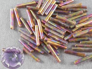 Стеклярус #5 12mm Dark Brown Transparent Rainbow Винтажный Тайвань