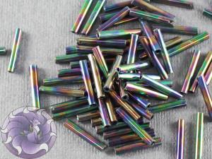 Стеклярус #5 12mm Black AB Винтажный Тайвань