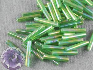 Стеклярус #5 12mm Green Transparent Rainbow Винтажный Тайвань
