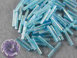 Стеклярус #5 12mm Aqua Transparent Rainbow Винтажный Тайвань
