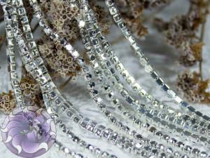 Стразовая цепь ss6 SG81 Цвет Светлый гематит в серебре