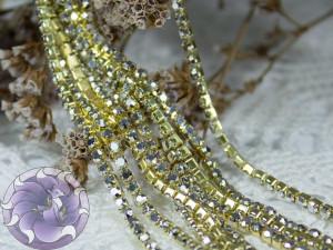 Стразовая цепь ss6 Silver Hematite in Gold bace GG82