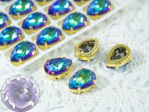 Кристаллы Капля 14х10мм цвет Bermuda Blue