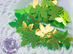 Пайетки фигурные бабочки 18х8мм Green