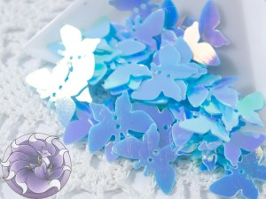Пайетки фигурные бабочки 18х8мм Sky Blue