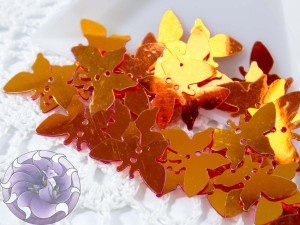 Пайетки фигурные бабочки 18х8мм Orange
