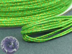Сутаж металлический Япония 3мм цвет МИКС двойной Матовый зеленый с золотом