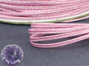 Сутаж металлический Япония 3мм МИКС двойной розовый с серебром