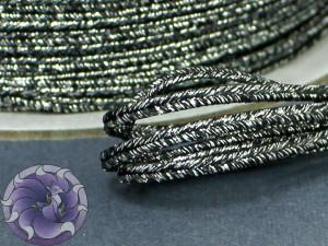Сутаж металлический Япония 3мм цвет Черный с серебром