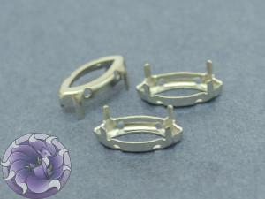 Оправа для кристаллов Лодочка Маркиз 16*10мм, цвет серебро