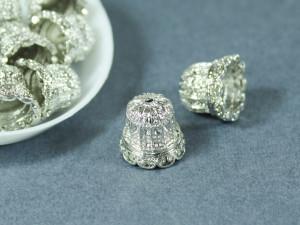 Концевик для шнуров, жгута и кистей колокольчик 13*14,5мм Цвет серебро