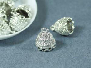 Концевик для шнуров, жгута и кистей с петельками 10*15мм Цвет серебро