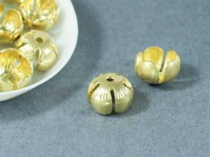 Концевик для жгута и кистей Цветок 8*12мм Матовое золото