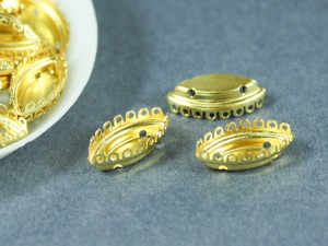Оправа для кристаллов Лепестки Лодочка Маркиз 7х15мм цвет золото