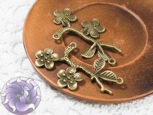 Коннектор для украшений Ветка 50х33мм цвет Античная бронза