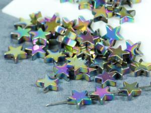 Бусина фигурная гематит Звезда 8х8мм зелено-фиолетовый