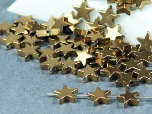 Бусина фигурная гематит Звезда 8х8мм темное золото