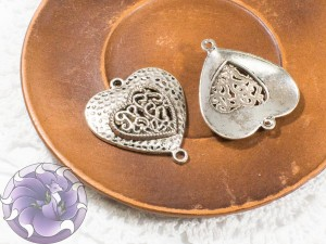 Коннектор для украшений Сердце 34х30мм цвет Античное Серебро