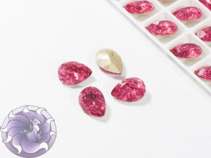 Кристалл Капля 14х10мм стекло Кракелюр цвет Розовый
