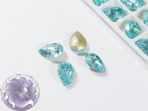 Кристалл Капля 14х10мм стекло Кракелюр цвет Аквамарин