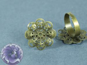 Основа для кольца регулируемая филигрань цветок 22мм Цвет бранза