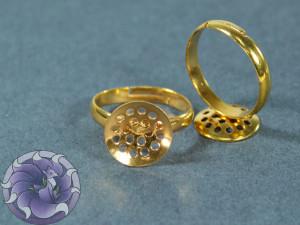 Основа для кольца регулируемая сеточка 12мм Цвет золото
