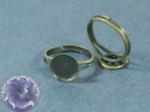 Основа для кольца регулируемая для кабошона зубчики 10мм Цвет бронза