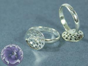 Основа для кольца регулируемая сеточка 13,5мм Цвет серебро