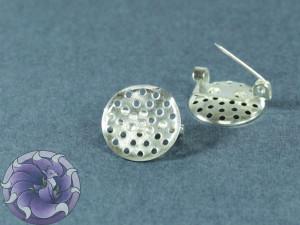 Основа для брошки булавка круглая с перфорацией 16мм Серебро