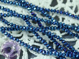 Бусины Рондели нить 2мм металлик синий