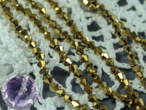 Бусины Биконусы нить 3мм металлик золото