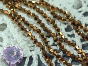 Бусины Биконусы нить 3мм металлик коричневый