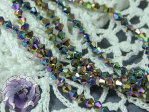 Бусины Биконусы нить 3мм металлик радуга