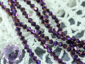 Бусины Биконусы нить 3мм металлик фиолетовый