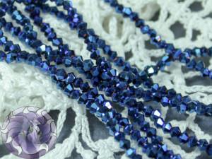 Бусины Биконусы нить 3мм металлик синий