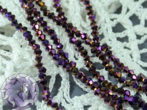 Бусины Биконусы нить 2мм металлик фиолетовый