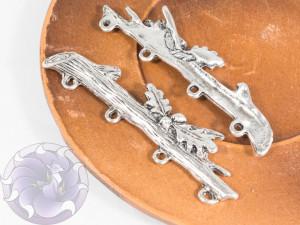 Коннектор для украшений Ветка 55х14мм цвет Античное Серебро