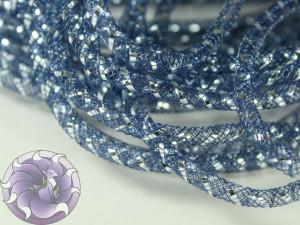 Трубчатый регилин белый 4мм, Цвет Темно синий с серебром