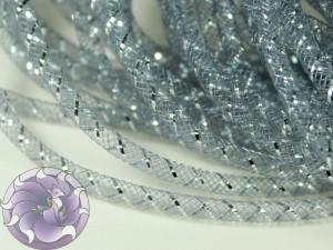 Трубчатый регилин белый 4мм, Цвет Серый с серебром
