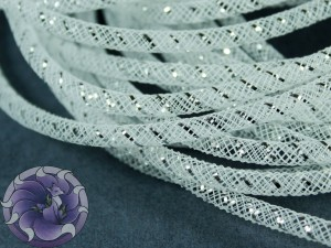 Трубчатый регилин белый 4мм, Цвет Белый с серебром