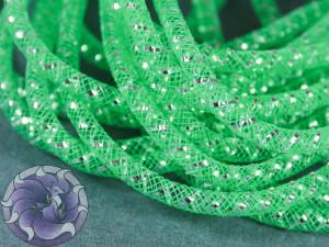 Трубчатый регилин белый 4мм, Цвет Зеленый с серебром