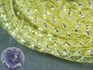 Трубчатый регилин белый 4мм, Цвет Желтый с серебром