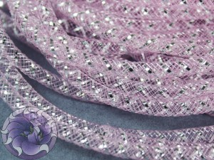 Трубчатый регилин белый 4мм, Цвет Светло розовый с серебром