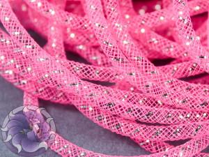 Трубчатый регилин белый 4мм, Цвет Розовый с серебром