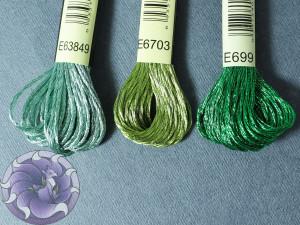Нитки мулине Металлик зеленая палитра