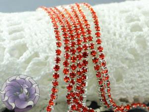 Стразовая цепь 2мм ss6 Orange основа серебро SN95