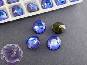 Кристалл круглый 14мм лаковый Ultra AB темно синий
