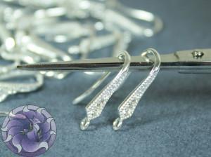 Швензы крючки 17мм, три кристалла, Цвет Серебро