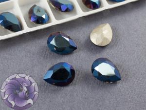 Кристалл Капля 14х10мм стекло цвет Металлик синий